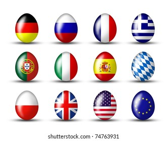 Eastereggs with a international flag on a white background