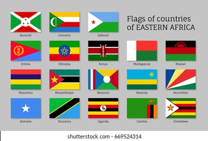 Eastern Africa flags icons set, regions and territories, geography or geopolitics poster, educational card. Flat style  illustration on gray background