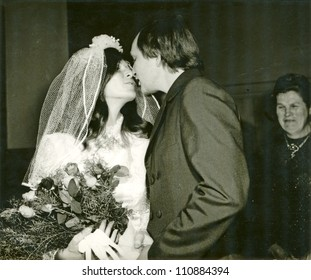 Eastern Bohemia, CZECHOSLOVAKIA, CIRCA 1972 - wedding kiss - circa 1972