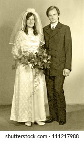 EASTERN BOHEMIA, CZECHOSLOVAKIA, CIRCA 1972 - Bride and Groom, newlyweds, official portrait - circa 1972