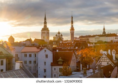 Eastern Europe, Baltic States, Estonia, Tallinn. old town, along the city walls. Roof tops. Skyline.