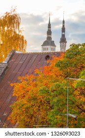 Eastern Europe, Baltic States, Estonia, Tallinn. Autumn leaves, roof tops, old town.
