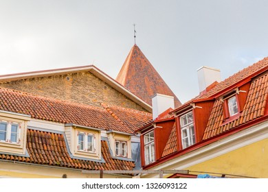 Eastern Europe, Baltic States, Estonia, Tallinn. Old town, roof line.