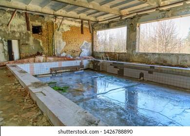 Eastern Europe, Ukraine, Pripyat, Chernobyl. Small swimming pool.