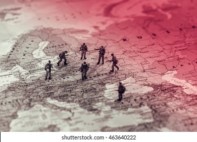 Eastern European military conflict. Conceptual photo