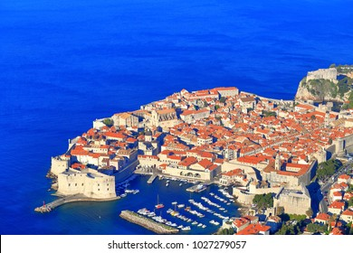 Eastern harbor and the old buildings of Dubrovnik, Croatia