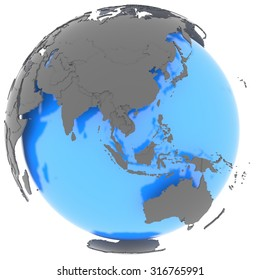 Eastern Hemisphere standing out of blue planet in grey, isolated on white background