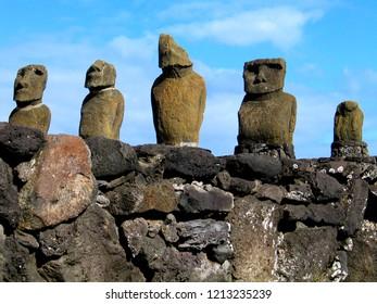 Eastern Island. Moais in Rapa Nui. Isla de Pascua, Chile