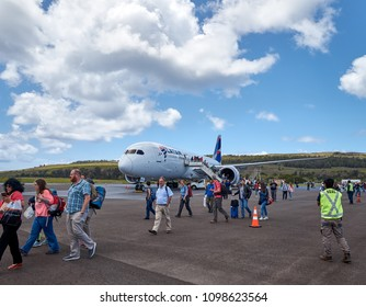 EASTERN ISLAND - NOV 12: Airplane landed on Mataveri Airport, The Rapa Nui National Park attracts visitors interested in the culture and the history of the place. Nov 12, 2017 in Eastern Island, Chile