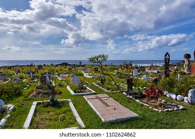 EASTERN ISLAND - NOV 12:  The colorful cemetery of Hanga Roa is one of the places to visit for understanding the local culture.  Nov 12, 2017 in Eastern Island, Chile