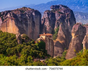 The eastern orthodox monasteries at Mount Athos ,Meteora,near the town of Kalambaka at the northwestern edge of the Plain of Thessaly near the Pineios river and Pindus Mountains,UNESCO World Heritage