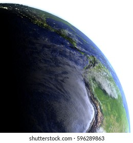 Eastern Pacific on model of Earth. 3D illustration with realistic planet surface and visible city lights. Elements of this image furnished by NASA.