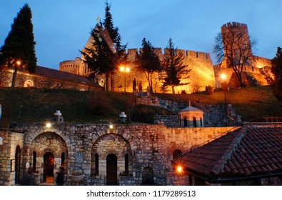 The eastern part of the Belgrade Fortress. Dizdar Tower and Ruzica church. Belgrade Fortress at night. Belgrade, Serbia.