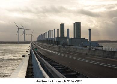 The eastern scheldt storm surge barrier Oosterscheldekering in the Dutch province of Zeeland