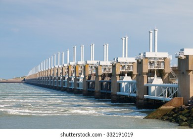 The Eastern Scheldt storm surge barrier or Oosterscheldekering in Zeeland, Netherlands. This largest Delta Work of a series of dams designed to protect the Netherlands from flooding from the North Sea