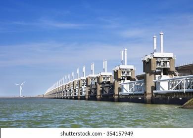 The Eastern Scheldt storm surge barrier (Oosterscheldekering) in the Dutch province of Zeeland.