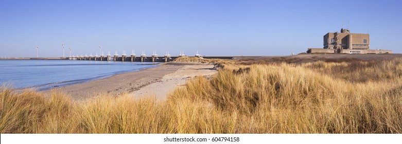 The Eastern Scheldt Storm Surge Barrier at Neeltje Jans in the province of Zeeland in The Netherlands.