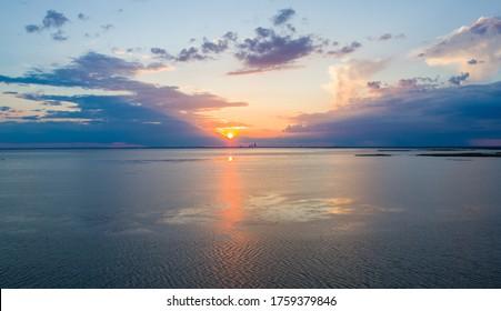 Eastern shore of Mobile Bay on the Alabama Gulf Coast at dusk