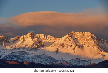 Eastern Sierra snowy mountains from Bishop California in the morning