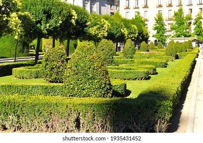 Eastern square (Plaza de Oriente) gardens, Madrid, Spain