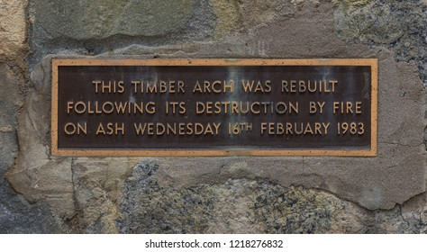Eastern View, Victoria, Australia - December 22 2017: Plaque at the Timber Arch at the beginning of the Great Ocean Road