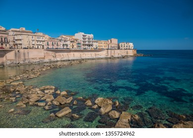 Eastern waterfront of Ortygia Island, Syracuse (Siracusa), a historic city on the island of Sicily, Italy. Notable for its rich Greek history, culture, amphitheatres, architecture