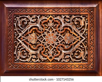 Eastern wooden carvings with beautiful patterns.