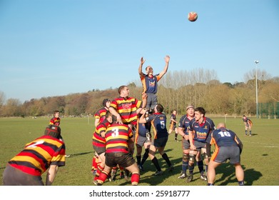 EASTLEIGH, DORSET FEB 21: A rugby line-out formation in action during a rugby match between Eastleigh and East Dorset in Eastleigh, Dorset, England February 21, 2009.