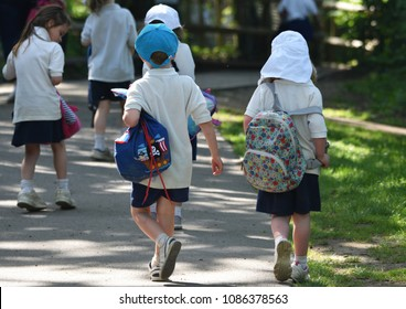 Eastleigh, Hampshire, UK. May 8 2018. Young school children on a field trip