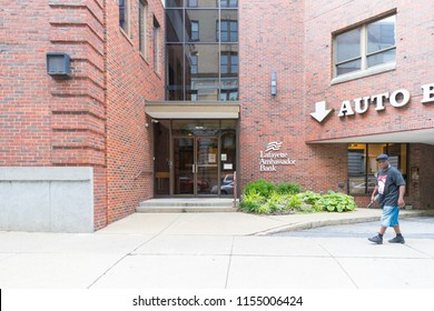 EASTON, PA - August 11, 2018: Lafayette Ambassador Bank sign and logo. Lafayette Ambassador Bank is an American multinational banking and financial services corporation.