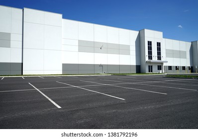 Easton, Pennsylvania / USA - April 13 2019:  Exterior of a large warehouse. typical of modern warehouse architecture.