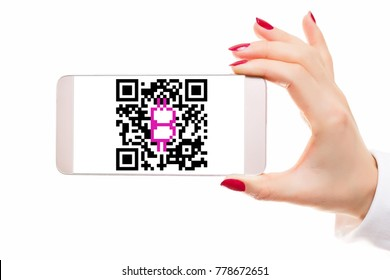 Easy bitcoin qr code payment transaction mobile smartphone and tablet devices