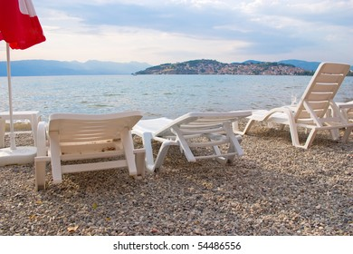 Easy chairs on beach