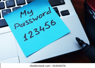Easy Password concept.  My password 123456 written on a paper with marker.