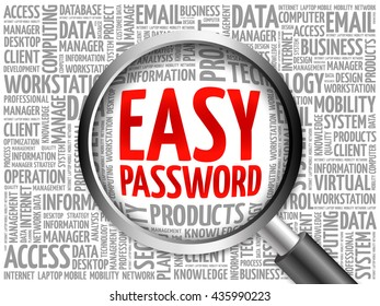 Easy Password word cloud with magnifying glass, business concept 3D illustration