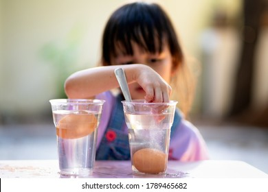 Easy science experiment at home to learn about the density of salt water effect to floating and sinking of the eggs, concept of child education and learning through play activity at home