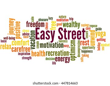 Easy street, word cloud concept on white background.