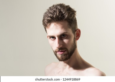 Easy style to suit his beard. Barber shop. Bearded man needs beard barber. Personal grooming and morning routine. Mens hair grooming. Man in morning after wakeup, copy space.