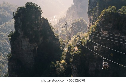 Easy transportation to top of Huangshizhai mountain, Zhangjiajie, is provided by this cable car