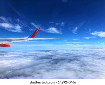 EasyJet flight looking out the window, from Bristol international airport to dalaman airport, Turkey. June 2019.