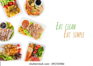 """""""Eat clean Eat simple"""" is written on white background with modern style cuisine cooked by clean food concept including European, Japanese, Thai, and Chinese food style in lunch box"""