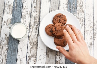 eat cookies and drink milk - close up from above