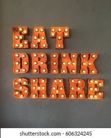Eat and Drink neon sign for cafes and restaurants