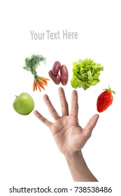 Eat five fruit and vegetables per day to your diet, with a mix of fruit and vegetable on each finger of one hand