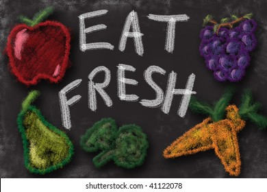 Eat fresh fruits and vegetables. Chalk drawing sign promoting healthy diet.