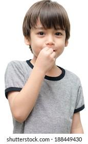 Eat kid hand sign language on white background