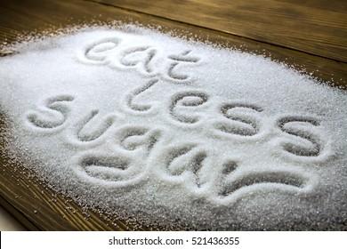 EAT LESS SUGAR. Health concept