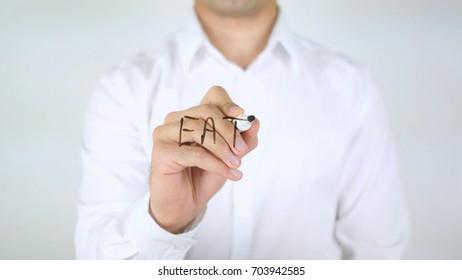 Eat, Man Writing on Glass