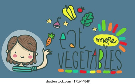 eat more vegetables illustration with text
