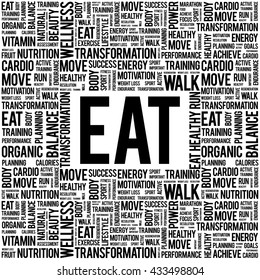 EAT word cloud background, health concept